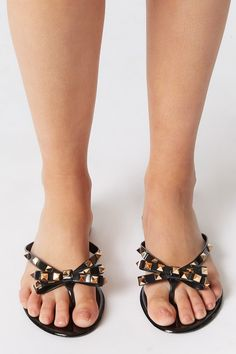 Jelly Studded Bow Thong Sandal – Charlotte Russe