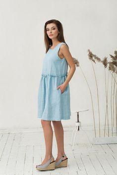 Light blue linen dress. Oversized loose fit linen dresses.