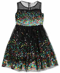 I might have to start buying clothes for my niece and saving them - love the multi-colored sparklies --> Speechless Girls Dress, Girls Sequin Illusion Dress - Kids - Macy's