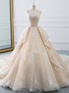 Champagne Ball Gown Tulle Sequins Bling Bling V-neck Wedding Dress 5d1a25096dba