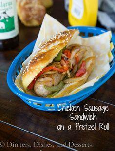 Chicken Sausage Sandwich on a Pretzel Roll Recipe - RecipeChart.com