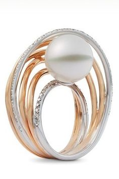 Mikimoto White South Sea Pearl and Diamond Ring