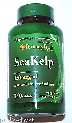 Sea Kelp Iodine Pills Tablets 250ct Thyroid Support Radiation Blocker Puritans. Great for dogs coat and skin color/thickness/shine.