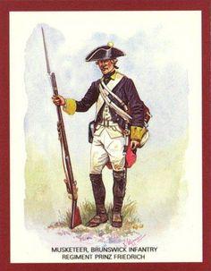 AWI- Hessian: Musketeer, Brunswick Infantry Regiment Prinz Friedrich 1776, by R. J. Marrion.