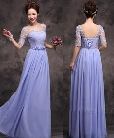 Light Purple Long Bridesmaid Dresses 2015 Vestidos Chiffon Scoop Vestido De Festa Empire Waist Yellow Sheer Half Sleeve Bridal Party Gown WJ Online with $98.7/Piece on Luck_shop's Store | DHgate.com
