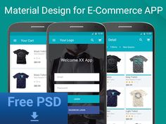 Freebie PSD : E-Commerce APP for Material Design by Buğra Dere