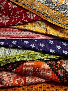 Cacophany of color!  one-of-a-kind Kantha quilts and cushions by Jeanette Farrier
