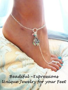 Barefoot Sandals - Sterling Silver Abalone Anklet, Barefoot Jewelry & Toe Ring, Faerie Jewelry - Available in Gold Filled too. Great with your heels, barefoot or with flip flops. Ankle Jewelry, Ankle Bracelets, Body Jewelry, Beach Jewelry, Jewelry Accessories, Jewelry Design, Unique Jewelry, Slave Bracelet, Diy Schmuck