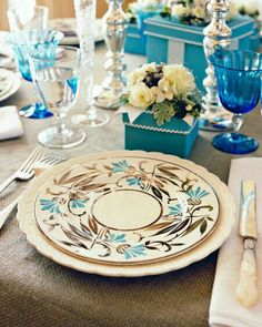Brown and blue table ware