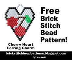 Free printable pdf download Cherry Heart Valentine's Day brick stitch beaded earrings charm pattern, color chart, labeled color chart, and black and white letter chart. http://brickstitchbeadpatterns.blogspot.com/2017/01/cherry-heart-brick-stitch-beaded.html
