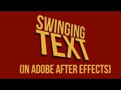 Swinging Text (motion typography technique) Tutorial - YouTube
