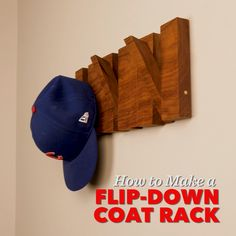 How to Make a Flip-Down Wall-Mounted Coat Rack, diy furniture plans, Wood Shop Projects, Small Wood Projects, Woodworking Projects Diy, Woodworking Furniture, Diy Furniture, Diy Projects, Woodworking Tools, Woodworking Beginner, Woodworking Patterns