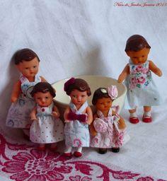 Tiny Dolls, Old Dolls, Cute Dolls, Rubber Doll, Doll Display, Creation Deco, Vintage Dollhouse, Vintage Paper Dolls, Miniature Dolls