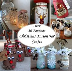 OVER 35 CHRISTMAS MASON JAR IDEAS Mason jars are so much fun, they have many uses and crafting has become a very popular one. We have compiled several different ideas out there that are fantastic projects to give as a gift or simply use as Christmas/ Winter decor. DIY Mason Jar Reindeer Get the Tutorial via Thethankfulhouse Chalk Painted Mason Jars Image Source via Instagram Snow Globe Mason Jars Get the Tutorial via Inspiration Station HERE DIY Mason Jar Candle Centrepieces Get the tuto...