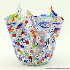Murano Glass Millefiori Fazzoletto Bowl - Transparent Multicolo, $180 !!