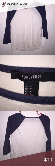 Forever 21 baseball tee Blue and white quarter sleeve baseball tee. Barely worn, no signs of wear. Will also fit a small Forever 21 Tops Tees - Long Sleeve