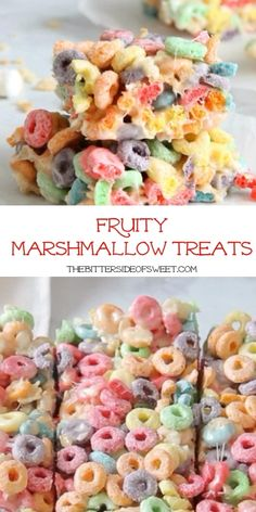 Fruity Marshmallow Treats Fruity Marshmallow Treats are the perfect ooey gooey treat! Made with your favorite version of cereal and lots of buttery marshmallow goodness! Dinner Party Desserts, Rice Recipes For Dinner, Dessert Party, Dessert Recipes, Kid Desserts, Cereal Recipes, Fudge Recipes, Vegan Rice Crispy Treats, Rice Krispy Treats Recipe