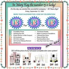 This Friday, June 13th; ONE DAY ONLY SALE! 8:00AM-11:59PM contact me for your order.  Mary Kay Ash started her business on the 13th so this SPECIAL is very special!!!!!  PM me; (call/text) 302-388-5664; (e-mail) brookeramsey@marykay.com; (website) www.marykay.com/brookeramsey ***Only my customers may participate unless you DO NOT have a Mary Kay consultant. #Friday13 #MaryKayAsh #EnrichingWomensLives