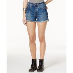 Free People Rock Denim Uptown Jean Shorts ($68) ❤ liked on Polyvore featuring shorts and harbor