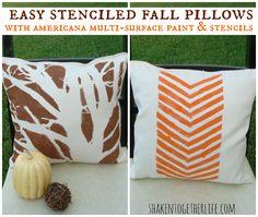 Stenciled Fall Pillows