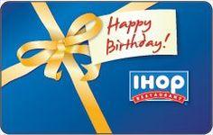 IHOP Happy Birthday Gift Card  Order at http://www.amazon.com/IHOP-Happy-Birthday-Gift-Card/dp/B002YEWXZ0/ref=zg_bs_2973100011_91?tag=bestmacros-20