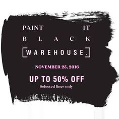 Check out WAREHOUSE BLACK FRIDAY SALE!  Get up to 50% OFF on selected lines for one day, so don't miss out!  Promo available only TODAY, November 25, 2016 in all WAREHOUSE Stores nationwide!  For more promo deals, VISIT http://mypromo.com.ph/! SUBSCRIPTION IS FREE! Please SHARE MyPromo Online Page to your friends to enjoy promo deals!