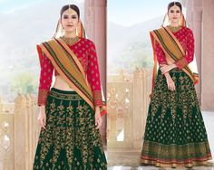 Green & Pink Bridal Wear Designer Lehenga in Banglori Silk
