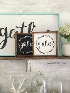 DIY gather mini signs, so cute! Shop now: etsy.com/shop/lollyjane