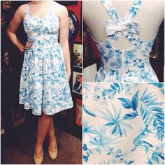Pair with white heels and matching hair flower for a stunning rockabilly outfit! #blamebetty #vintagefloral #retrodress