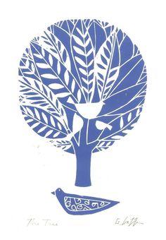 Tree of Life Print - Blue- Original Linocut Block Print, White Birds & Bluebird, Leaves, Modern Woodland Scene Art