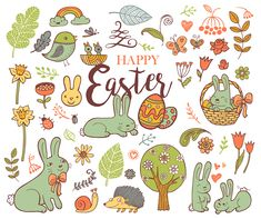 Cute Easter holiday symbols in doodle style with Cute Easter Bunnes on white background.