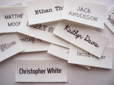 Iron On Name Tags, personalized name labels for kids clothing (school name labels).  100% organic cotton