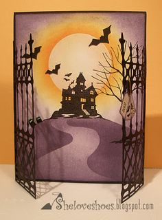 Spooky Time halloween card:die cut gates with haunted house silhouette scene Photo Halloween, Theme Halloween, Holidays Halloween, Halloween Decorations, Halloween Images, Fall Cards, Holiday Cards, Carte Harry Potter, Scrapbook Cards