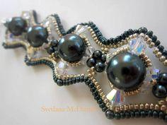 Beaded Bracelet Tahitian Swarovski pearl crystals seed beads Браслет бисер и жемчуг