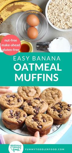 With just a handful of nutritious ingredients, you can bake Banana Oatmeal Muffins for a healthy breakfast for kids. The easy recipe uses no flour so they are gluten free. You can add chocolate chip, Banana Oatmeal Muffins, Healthy Banana Muffins, Healthy Breakfast Muffins, Banana Chocolate Chip Muffins, Baked Banana, Applesauce Muffins, Healthy Muffins For Kids, Healthy Breakfast For Kids, Healthy Baby Food