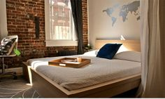 Brick Wall Accent For The Bedroom: Bedroom With The Bricked Wall And Map World Wallpaper ~ peerflix.com
