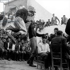 Wedding at Anogia, Crete, 1954 Photographer Dimitris Harissiadis Benaki Museum, Athens, Greece Greece Pictures, Old Pictures, Old Photos, Crete Greece, Athens Greece, Greek Dancing, Benaki Museum, Kai, Crete Island