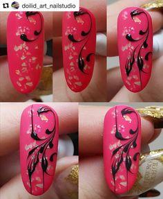 Swirl Nail Art, Rose Nail Art, Rose Nails, White Nail Art, Painted Nail Art, Acrylic Nail Art, Nail Art Diy, Diy Nails, Nail Art Arabesque