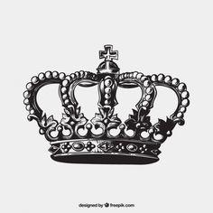 Mão coroa antiga desenhada Vetor grátis
