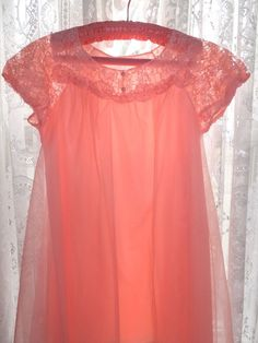 VINTAGE SEARS FLAMINGO PINK SHEER LAYERS NYLON LACE NEGLIGEE NIGHTIE NIGHT GOWN #SearsRoebuckandCo