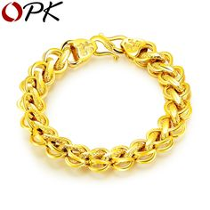 New Fashion Blessing Bracelet Men Jewelry Gold Color Copper Thick Curb Spiga Wheat Chain Charm Bracelets Bangles Boy - Men's style, accessories, mens fashion trends 2020 Mens Gold Bracelets, Gold Bangles, Sterling Silver Bracelets, Fashion Bracelets, Fashion Jewelry, Black Gold Jewelry, Copper Jewelry, Fine Jewelry, Men's Jewelry