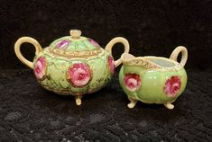 FABULOUS Footed Creamer & Covered Sugar Bowl, Pastel Green w/ Elegant Pink Roses, GOLD Trim, Is it Nippon or European, Dining Decor, Mint Dining Decor, Movie Props, Vintage Country, China Dinnerware, World Traveler, Diamond Pattern, Sugar Bowl, Pink Roses, Pastel