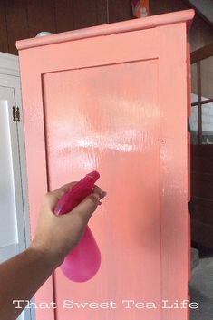 Girls dresser makeover in Coral Paints and a Delicate Image Transfer Coral Painted Dressers, Coral Dresser, Colorful Dresser, Coral Paint Colors, Coral Reef Color, Benjamin Moore Advance Paint, Paint Furniture, Furniture Refinishing, Red Barns