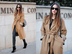 Large brown coat, long tight jeans, black boots high heels #fashion #winter