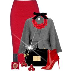 Red & Grey Posh Contest A fashion look from December 2017 by shamrockclover featuring Le Kasha, Gianvito Rossi, Dries Van Noten, Kate Spade and ncLA Mode Outfits, Fall Outfits, Fashion Outfits, Womens Fashion, Classy Outfits, Stylish Outfits, Work Fashion, Fashion Looks, Dries Van Noten
