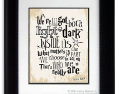 We've all got both light and dark Sirius Black Harry Potter Quote Kids Room print wall decor Christmas Gift Inspirational Harry Potter Fan