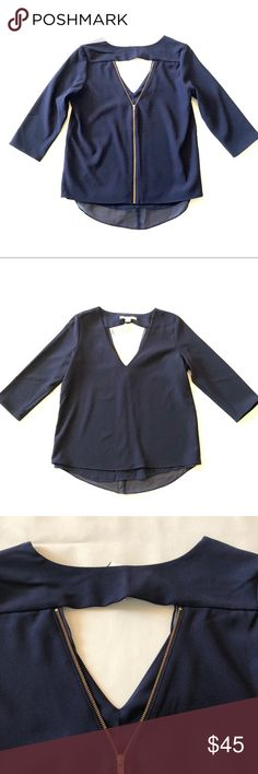 """NWT Cooper Ella Susan V cutout blouse S NWT Cooper Ella blouse  Size small Chest 38"""" Length 34"""" Cutout front  Cut out back with zipper  Fully lined 3/4 sleeve Dark navy with gold zipper Cooper & Ella Tops Blouses"""