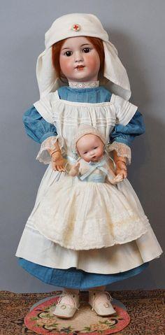 "23"" Wonderful Antique Simon & Halbig 550 Doll in Antique Nurse from kathylibratysantiques on Ruby Lane"