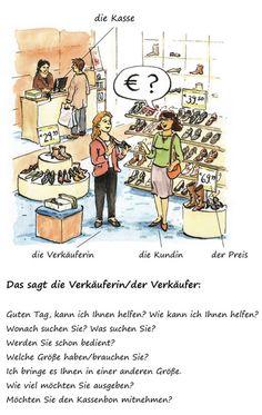 """work sheet """"Im Geschäft"""", German vocabulary about shopping - Wortschatz zum Thema Einkaufen"""