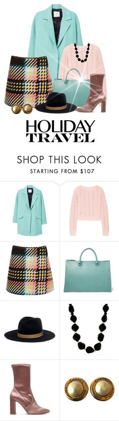 """""""Separates For Travel"""" by shamrockclover ❤ liked on Polyvore featuring MANGO, Narciso Rodriguez, Marni, Jil Sander, Janessa Leone, Effy Jewelry, Stuart Weitzman, Chanel, skirt and Sweater"""